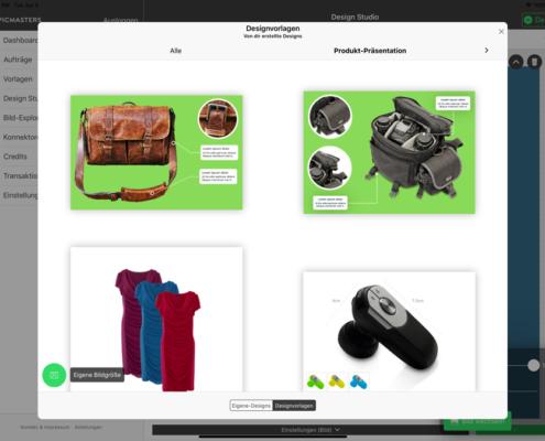 Designvorlagen mit einem Klick importieren