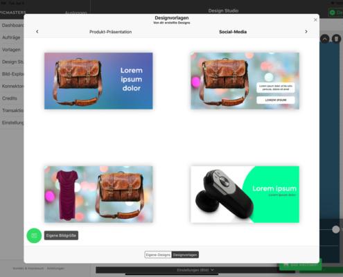 Vorlagen für Social-Media, Amazon Produktansichten, Paketbeilagen uvm. unkompliziert selbst erstellen